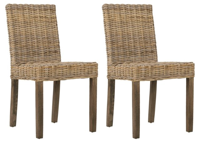 Jute Ogilby Side Chairs, Pair