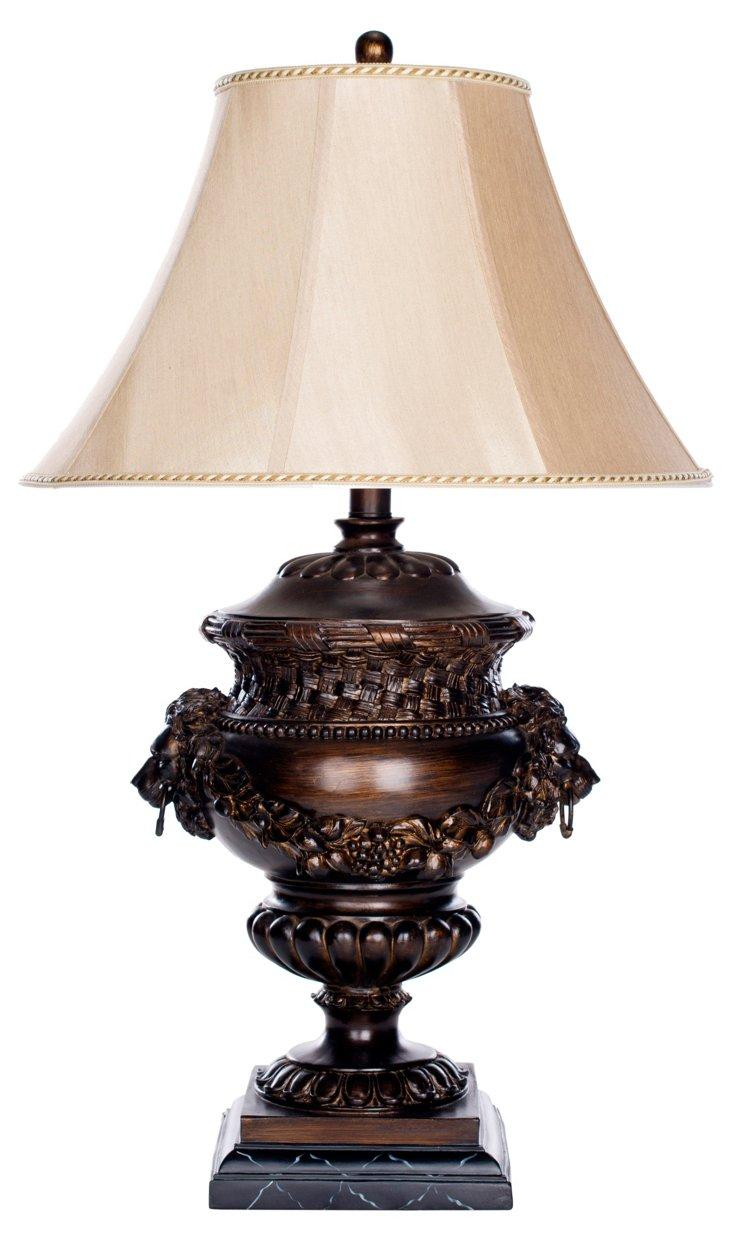 Lion Table Lamp, Dark Brown
