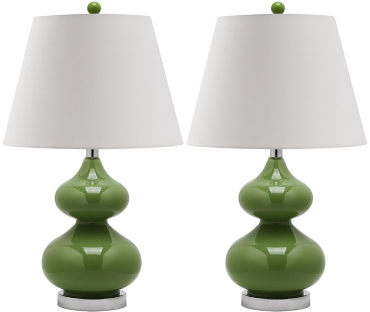 Bethany Table Lamp Set, Fern Green