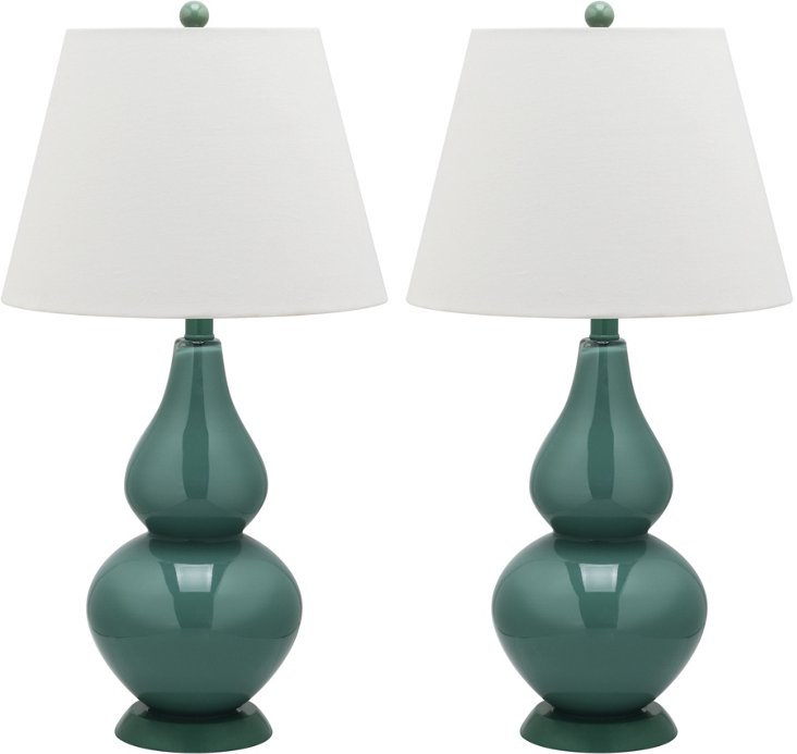 Angela Table Lamp Set, Blue