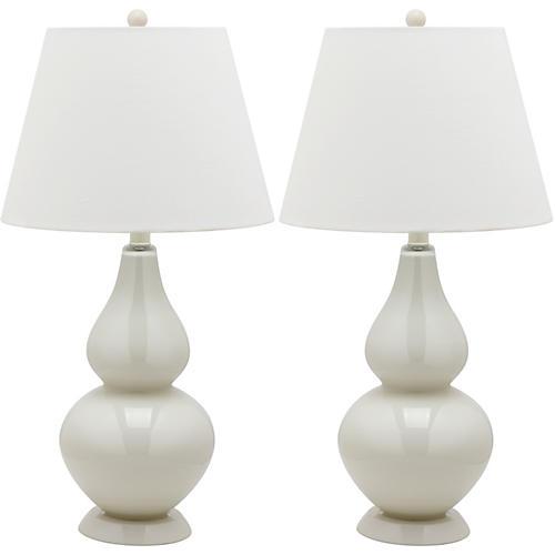Angela Table Lamp Set, Eggshell