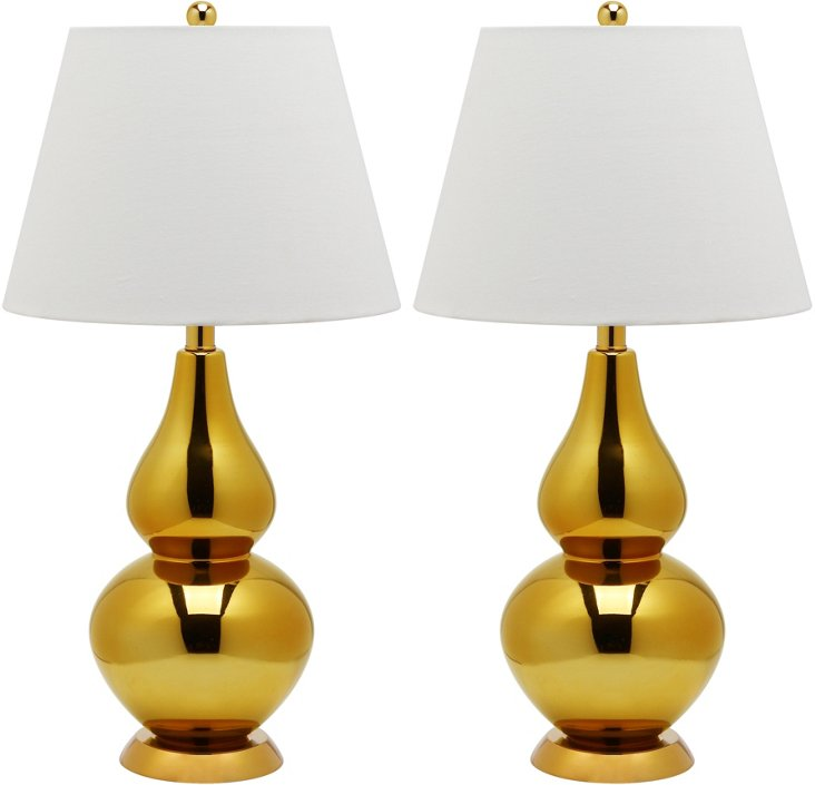 Angela Table Lamp Set, Metallic Gold