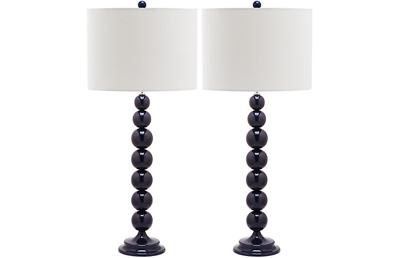 Knot Table Lamp Set, Navy Blue