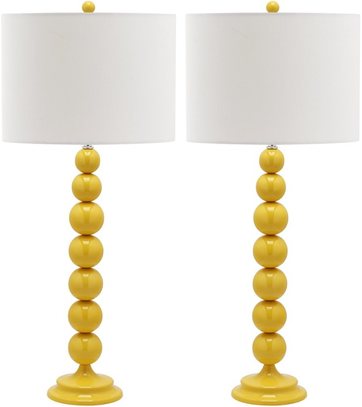 Knot Table Lamp Set, Yellow