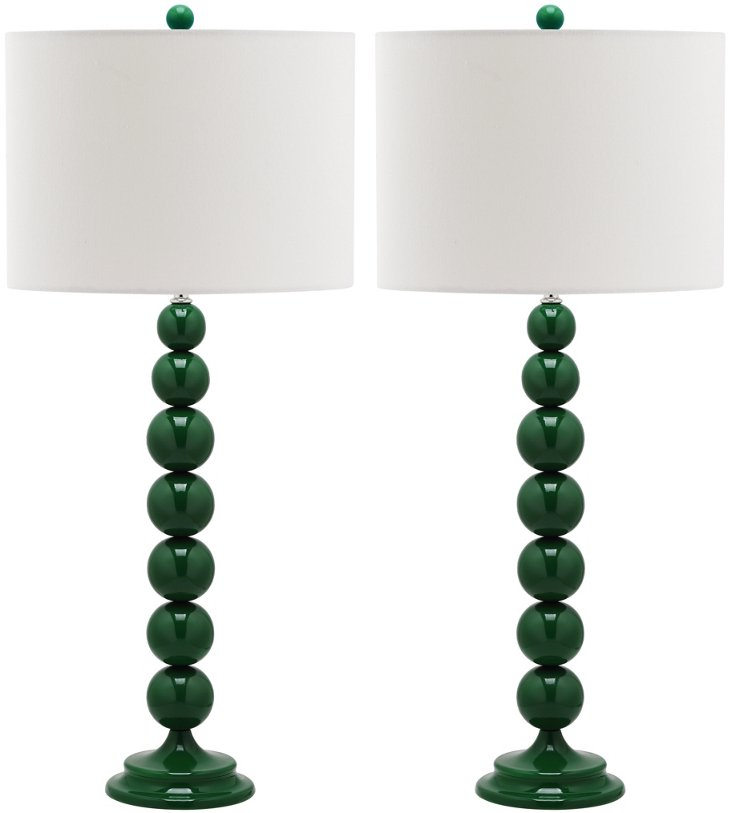 Knot Table Lamp Set, Dark Green