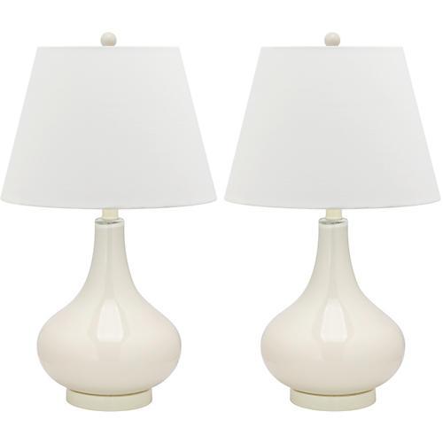 Samuels Table Lamp Set, White