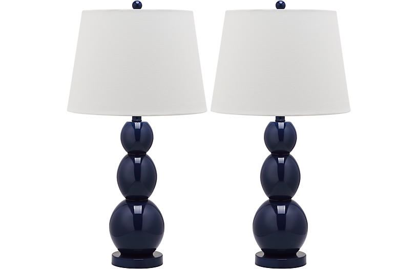S/2 Bailey Table Lamps, Navy