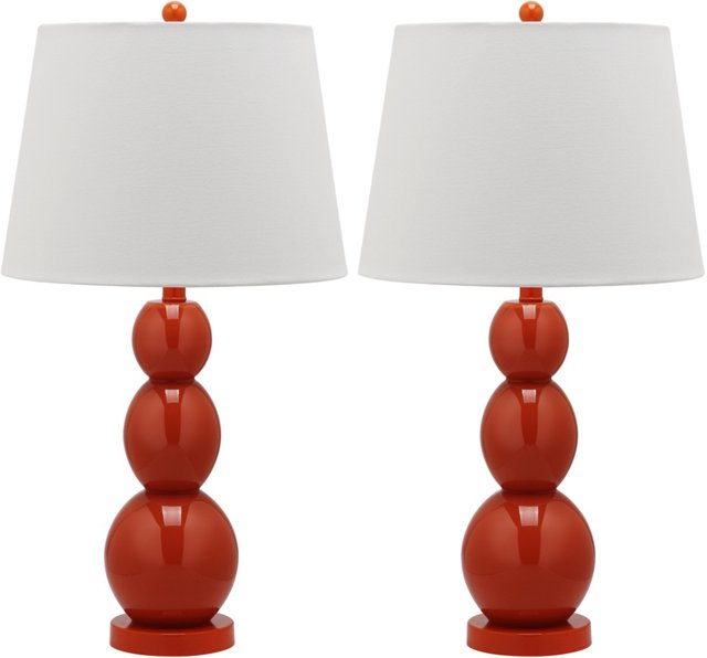 Brenna Table Lamp Set, Orange