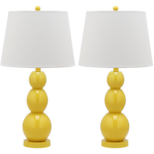 S/2 Bailey Table Lamps, Yellow