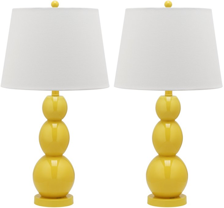 Brenna Table Lamp Set, Yellow