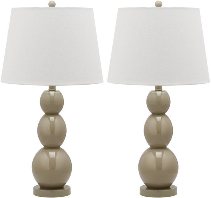 Brent Table Lamp Set, Beige