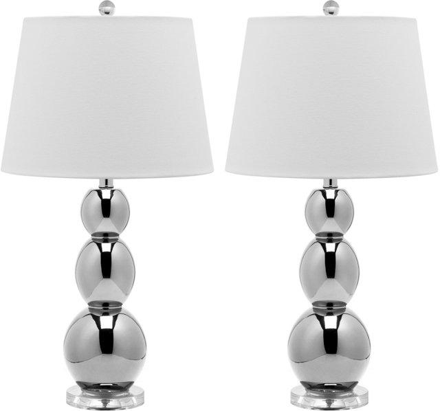 Brenna Table Lamp Set, Metallic Silver