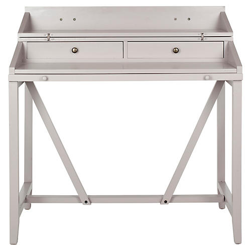"Elgin 41"" Pullout Writing Desk, Gray"