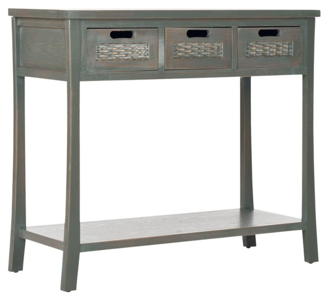 Lincoln 3-Drawer Console, Gray/Green
