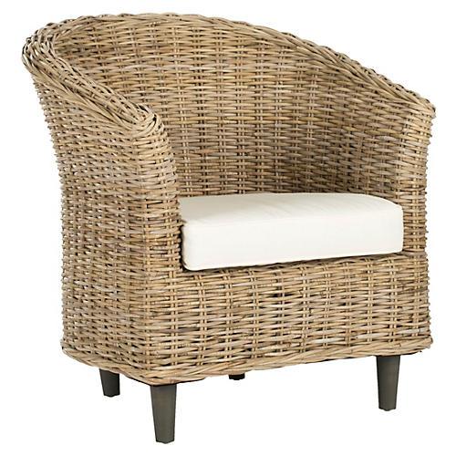 Eleanor Woven Barrel Chair, White