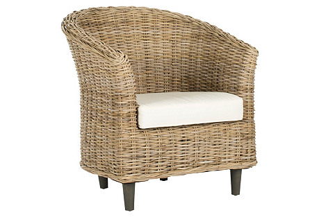 Eleanor Woven Barrel Chair, White