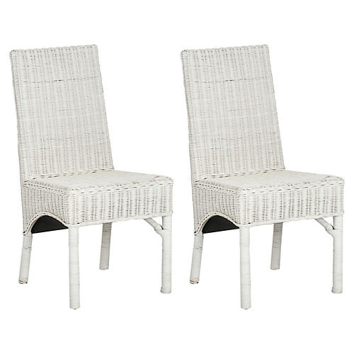 White Murphy Side Chairs, Pair