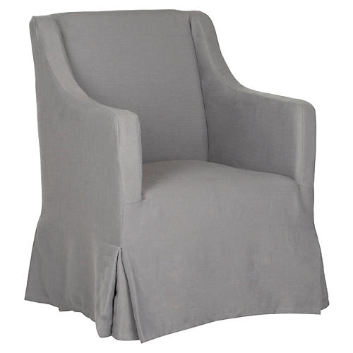 Suzie Slipcover Chair, Gray
