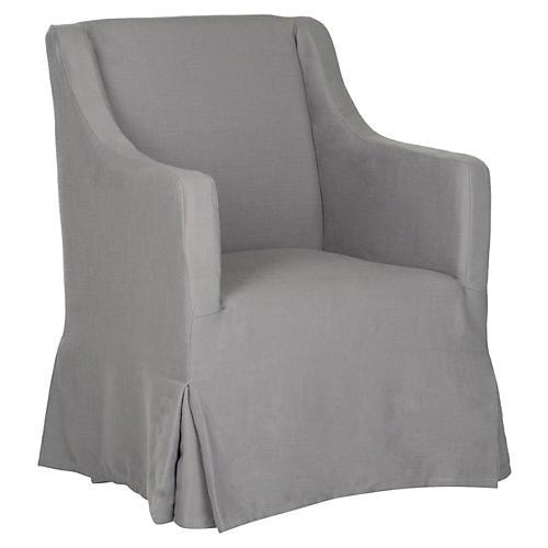 Suzie Slipcover Chair, Gray