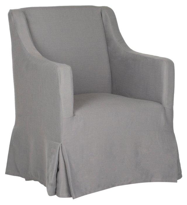 Suzie Slipcover Chair, Dove Gray