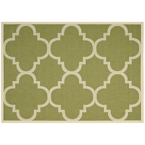 Ellis Outdoor Rug, Sage/Ivory