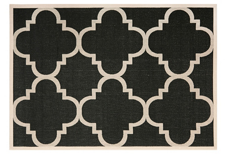 Ellis Outdoor Rug, Black/Tan