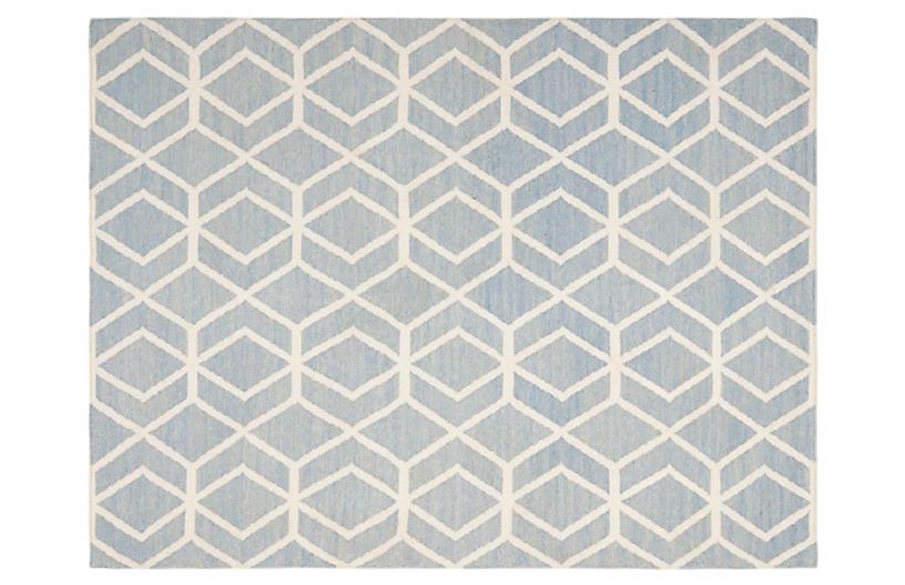 Xenia Dhurrie, Blue/Ivory