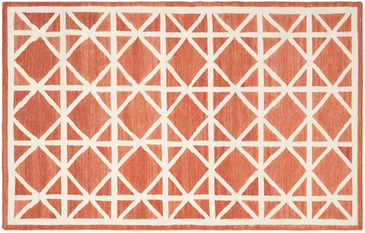 Solitaire Dhurrie Rug, Red