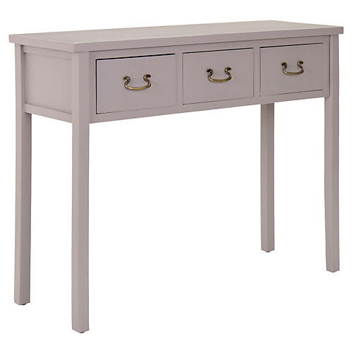 Marjorie 3-Drawer Console, Gray