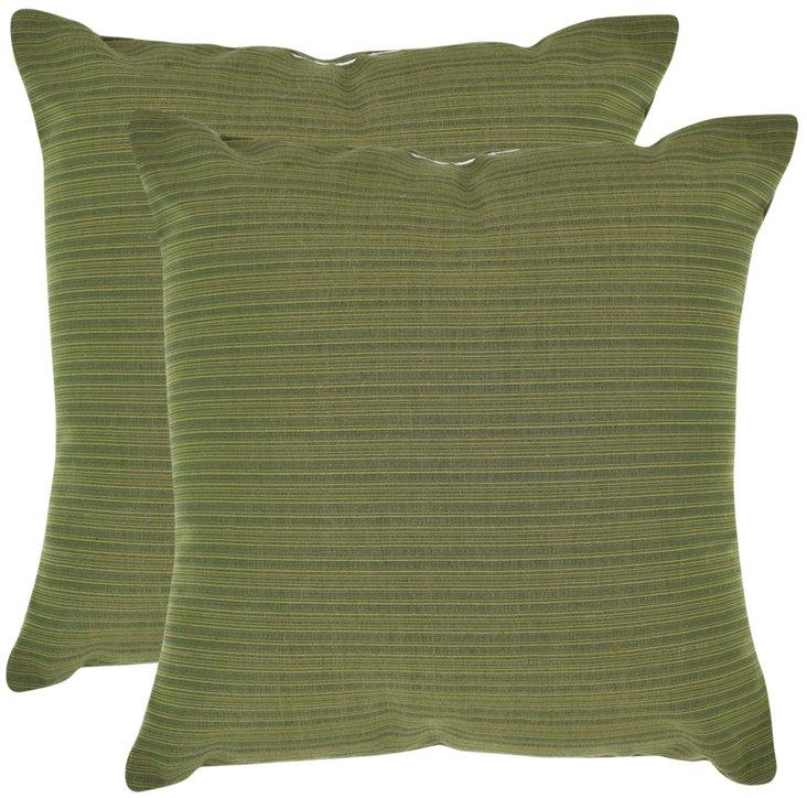 S/2 Tonal 20x20 Pillows, Green