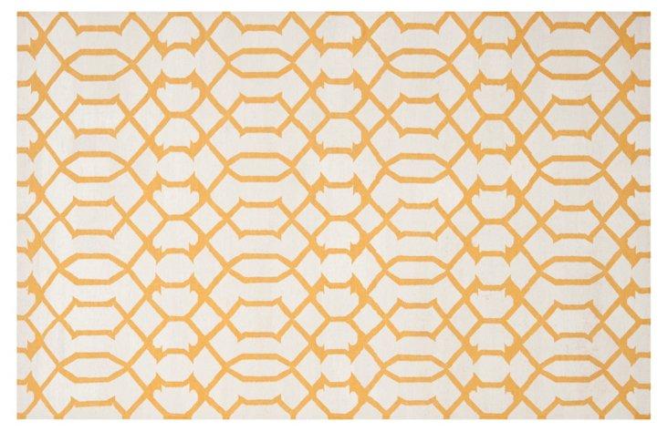 Gemas Dhurrie, Ivory/Yellow