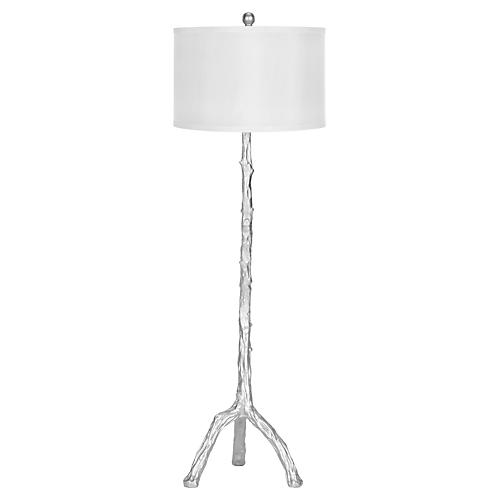 Painted Branch Floor Lamp, Silver