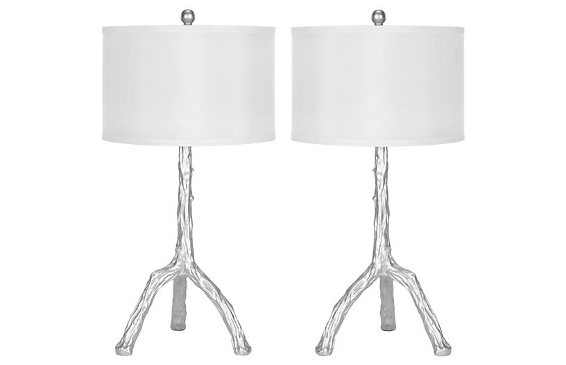 Painted Branch Table Lamp Set, Silver