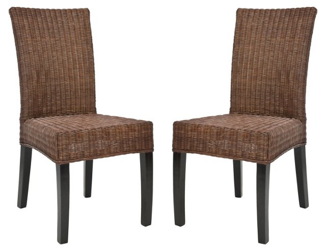 Pecan Fennessey Side Chairs, Pair