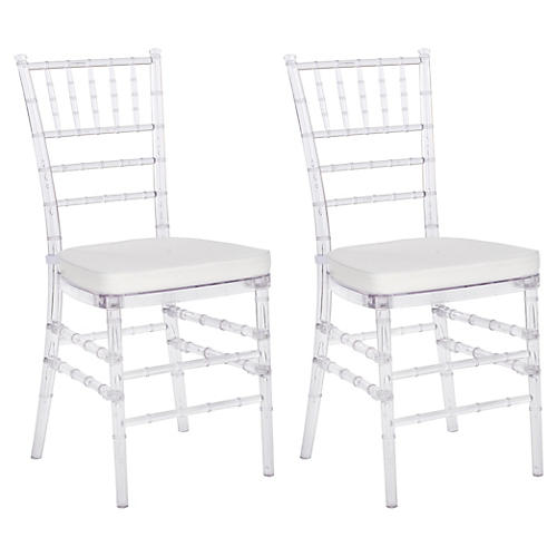 Grace Clear Side Chairs, Pair