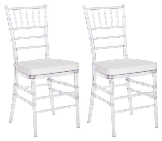 Pair of Grace Side Chairs, Clear