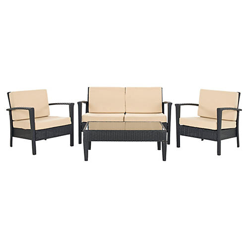Outdoor Caldwell 4-Pc Set, Black/Cream