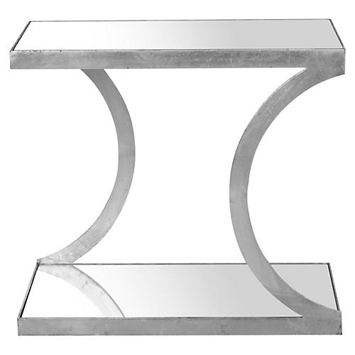 Tate Side Table, Silver/Mirror
