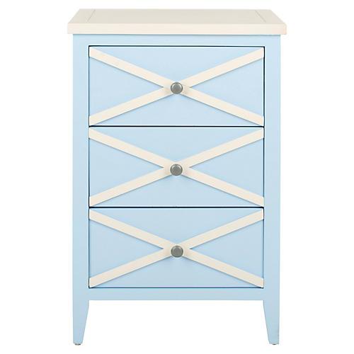 Penelope Nightstand, Light Blue/White