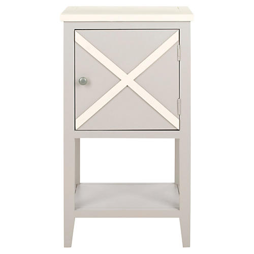 Wade Side Cabinet, Light Gray/White