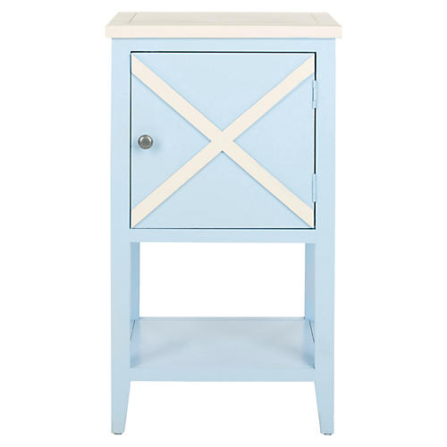 Wade Side Cabinet, Light Blue/White