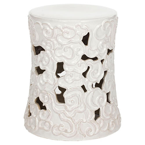Sarah Ceramic Garden Stool, White
