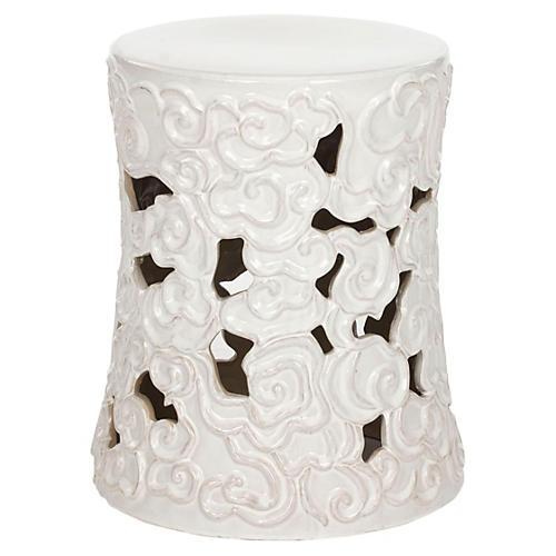 Sarah Ceramic Garden Stool, White