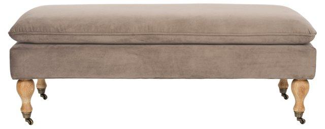 Clara Pillowtop Bench, Mushroom
