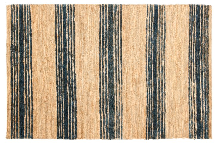 9'x12' Benno Hemp Rug, Natural/Blue