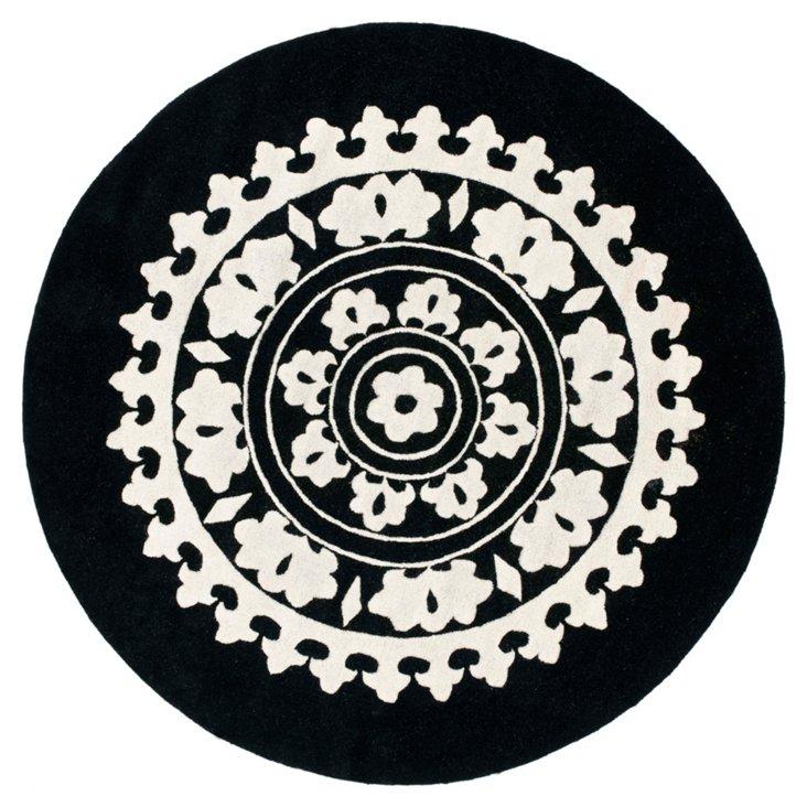6' Round Theodora Rug, Black/Ivory