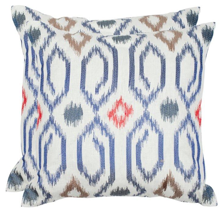 S/2 Ashton 22x22 Linen Pillows, Navy