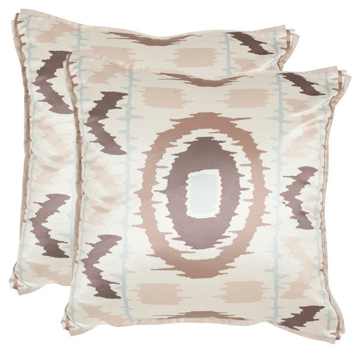 S/2 Walton 18x18 Pillows, Blue/Taupe