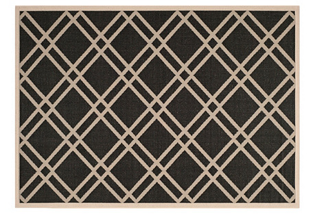 Lola Outdoor Rug, Black/Beige