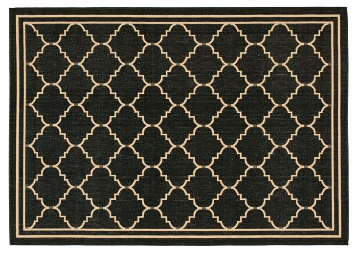 Warren Outdoor Rug, Black/Cream